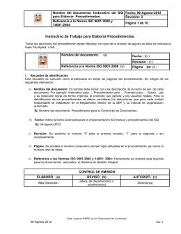 Nombre  del  documento:  Instructivo  del ... Fecha: 06-Agosto-2012 para Elaborar  Procedimientos. Revisión: 2