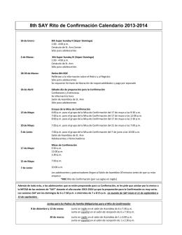 8th SAY Rito de Confirmación Calendario 2013-2014