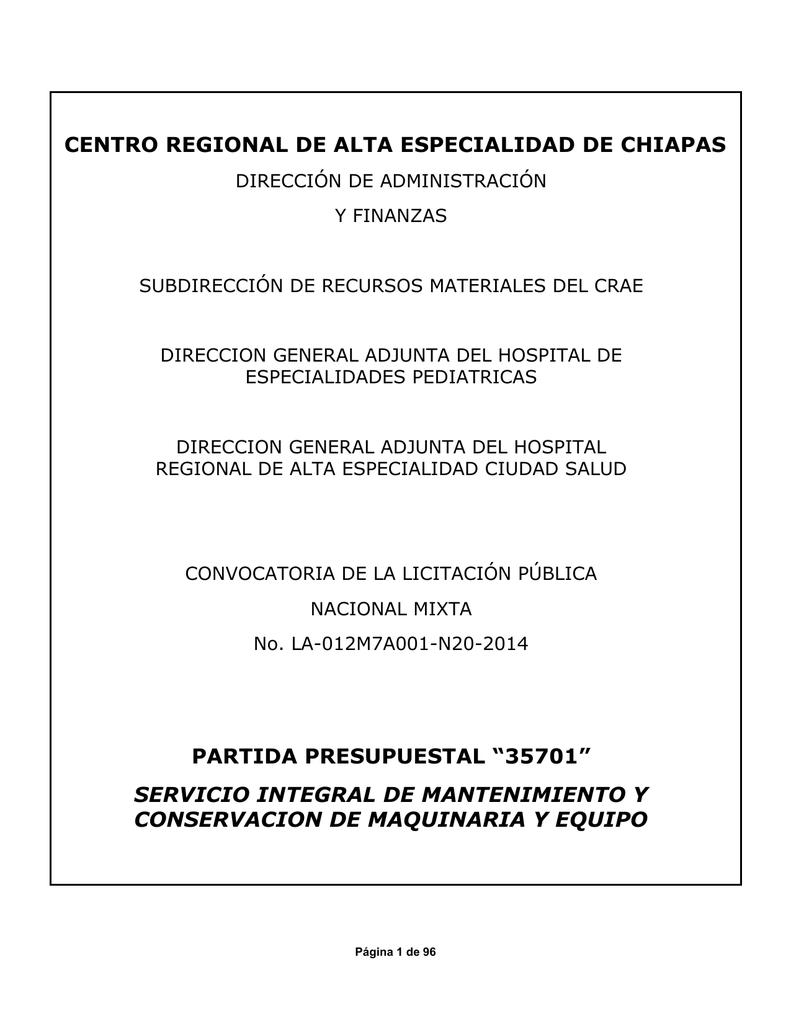 Servicio de Mantenimiento y Conservación de Maquinaria y Equipo