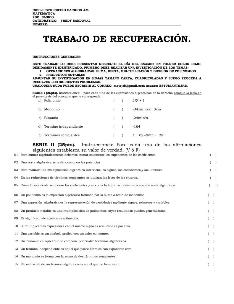 Atractivo Suma Y Resta De Polinomios Pdf Hoja De Trabajo Componente ...