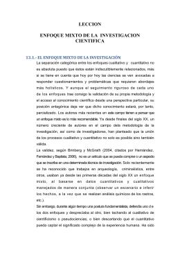 LECCION  ENFOQUE MIXTO DE LA  INVESTIGACION CIENTIFICA