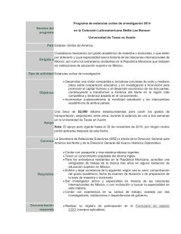 Programa Estancias Cortas 2014 Colección Latinoamericana Nettie