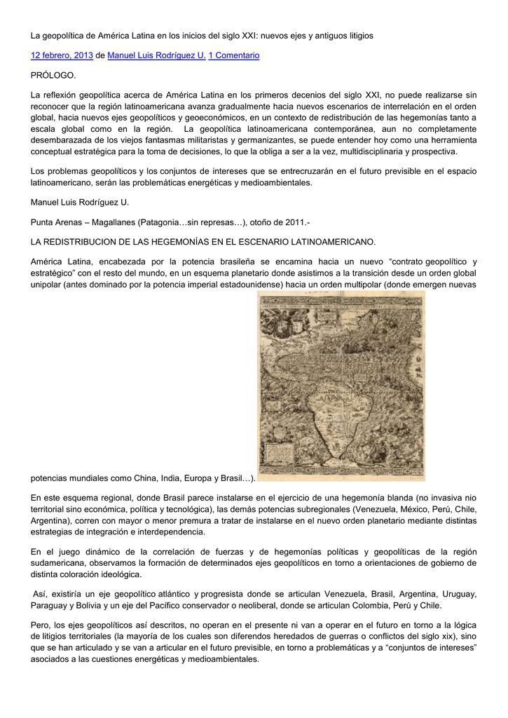 La geopolítica de América Latina en los inicios del siglo