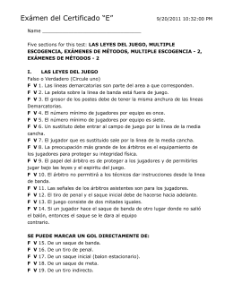Five sections for this test: LAS LEYES DEL JUEGO, MULTIPLE