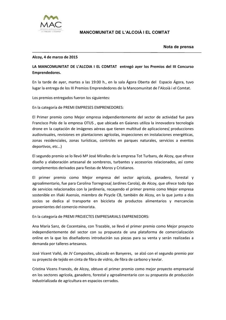 d23c708e526b MANCOMUNITAT DE L`ALCOIÀ I EL COMTAT Nota de prensa Alcoy