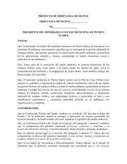 PROYECTO DE ORDENANZA MUNICIPAL CREACION DE
