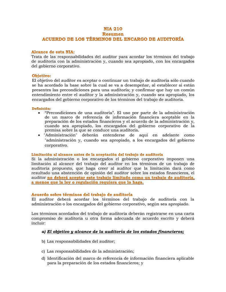 NIA 210 Resumen ACUERDO DE LOS TÉRMINOS DEL ENCARGO