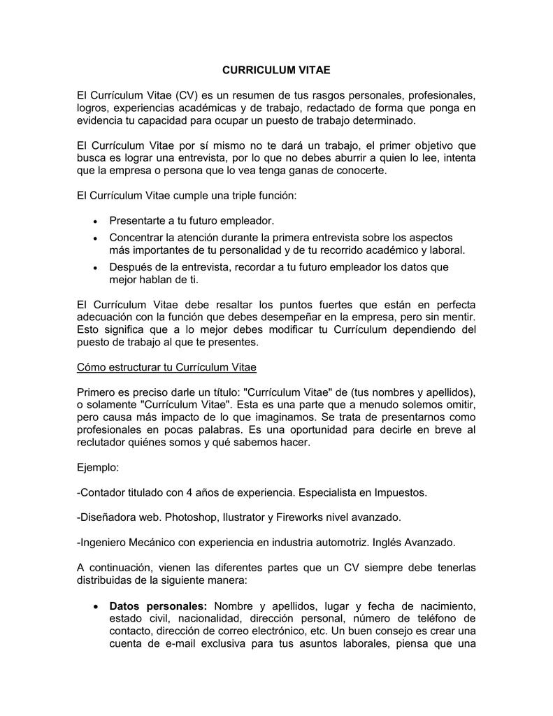 Currículum Vitae - Universidad Santa Paula