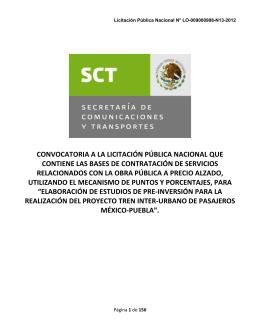 Convocatoria - Secretaría de Comunicaciones y Transportes