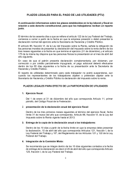 plazos legales para el pago de las utilidades (ptu)