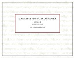 EL MÉTODO DE FILOSOFÍA EN LA EDUCACIÓN