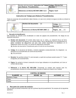 Instructivo de Trabajo Código: ITE-CA-IT-01 para Elaborar  Procedimientos. Revisión: 1