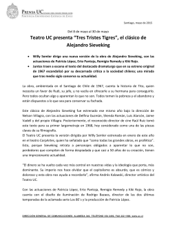 """Teatro UC presenta """"Tres Tristes Tigres"""", el clásico de Alejandro Sieveking"""