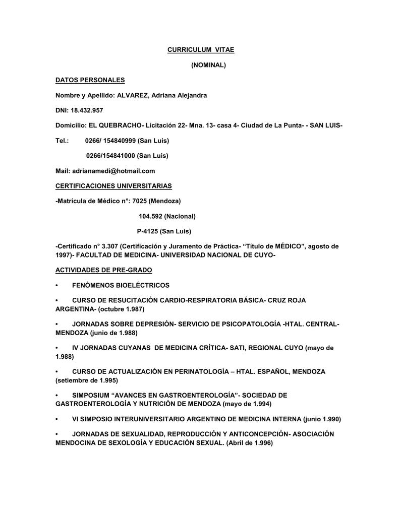 CURRICULUM VITAE (NOMINAL) DATOS PERSONALES Nombre y