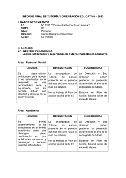 INFORME FINAL DE TUTORÍA Y ORIENTACIÓN EDUCATIVA