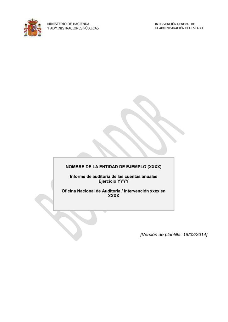 Plantilla del informe del auditor (extensión ).