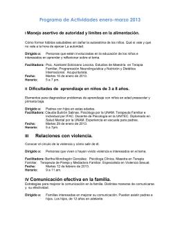 Programa de Actividades enero-marzo 2013