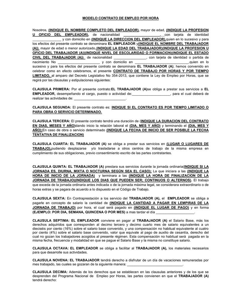 Modelo Contrato Ley De Empleo Por Hora 354