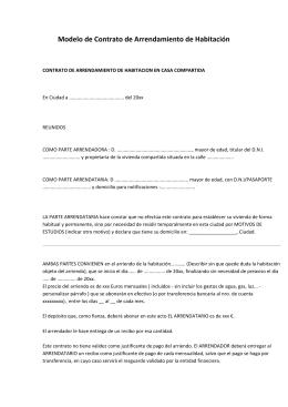 Formato Contrato De Arrendamiento De Casa Habitacion Con