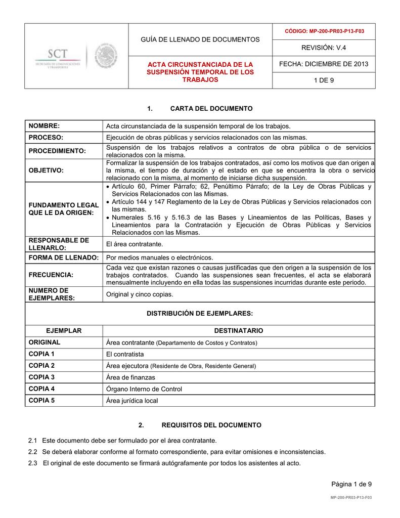 ACTA CIRCUNSTANCIADA DE LA SUSPENSIÓN TEMPORAL DE