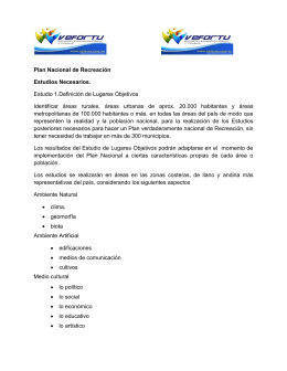 ESTUDIOS Plan Nacional de Recreacion