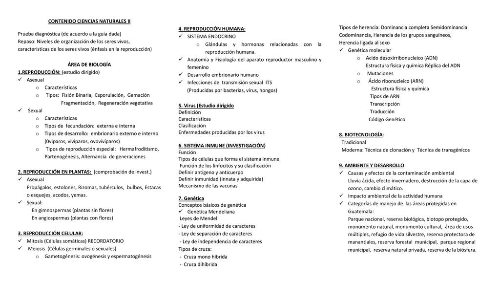 CONTENIDO CIENCIAS NATURALES II Prueba diagnóstica (de