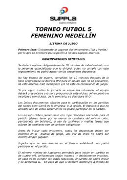 Barranquilla reglamento futbol 5 masculino for 5 reglas del futbol de salon