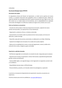 27/01/2014 Key Account Manager Export (MAGSA) Descripción del