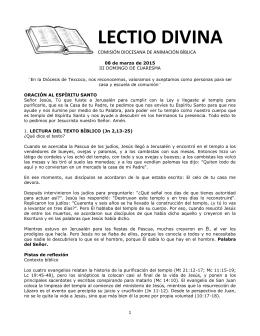 LECTIO DIVINA COMISIÓN DIOCESANA DE ANIMACIÓN BÍBLICA