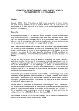 informe visita tecnica a la empresa electrica de santo domingo ys/e