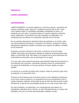 PROYECTO : HUERTA ORAGANICA ANTECEDENTES: HUERTA