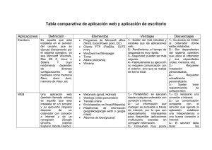Tabla comparativa de aplicación web y aplicación - Sites