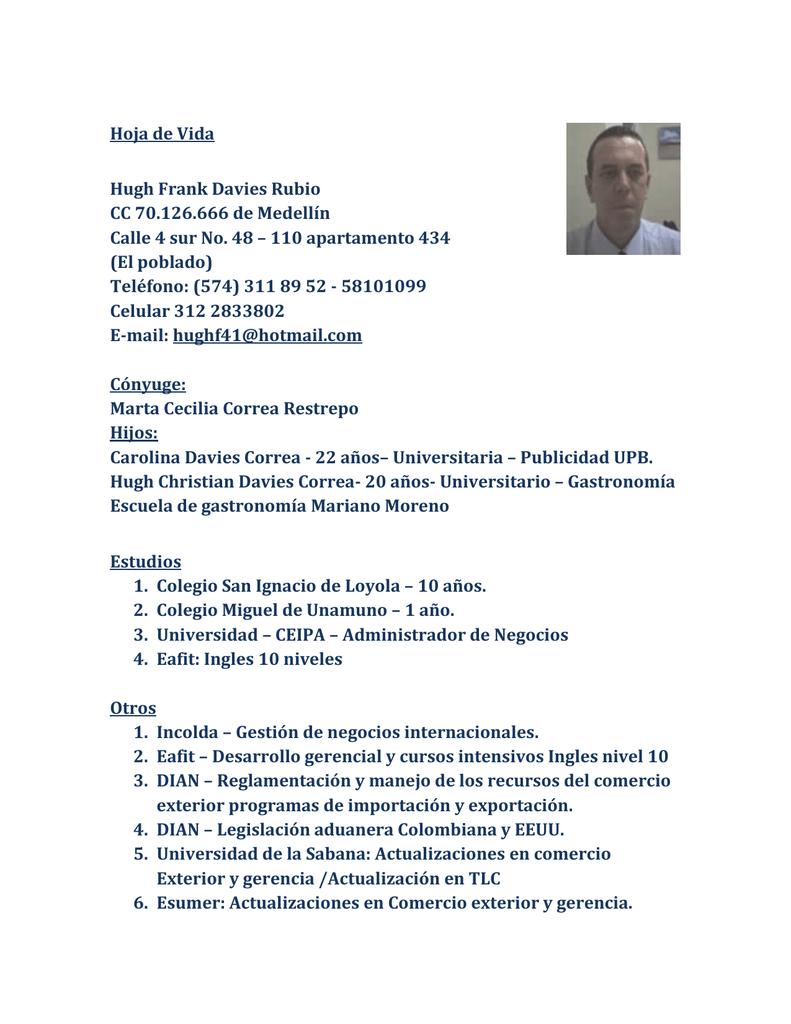 Hoja de Vida Hugh Frank Davies Rubio CC 70.126.666 de Medellín