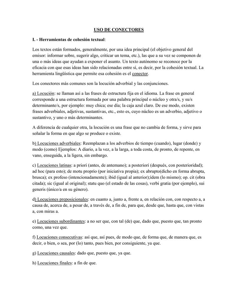 Uso De Conectores I Herramientas De Cohesión Textual