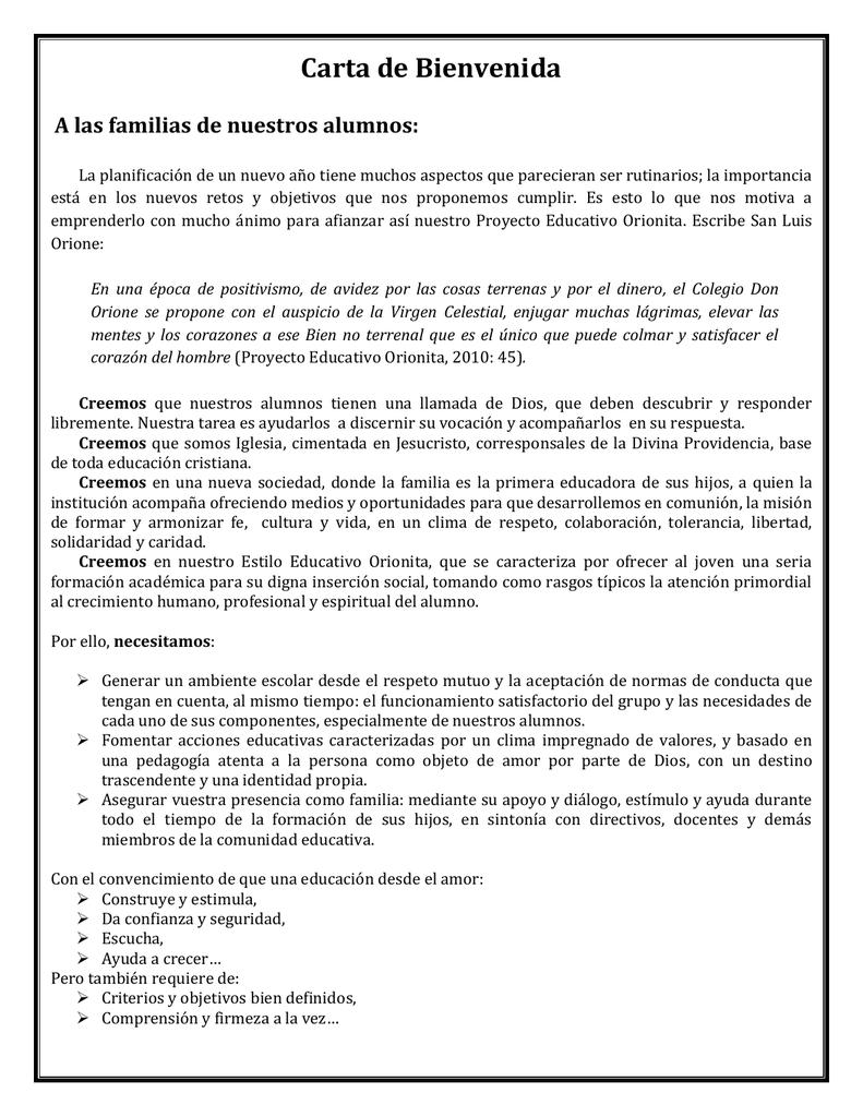 Carta De Bienvenida Instituto Don Orione