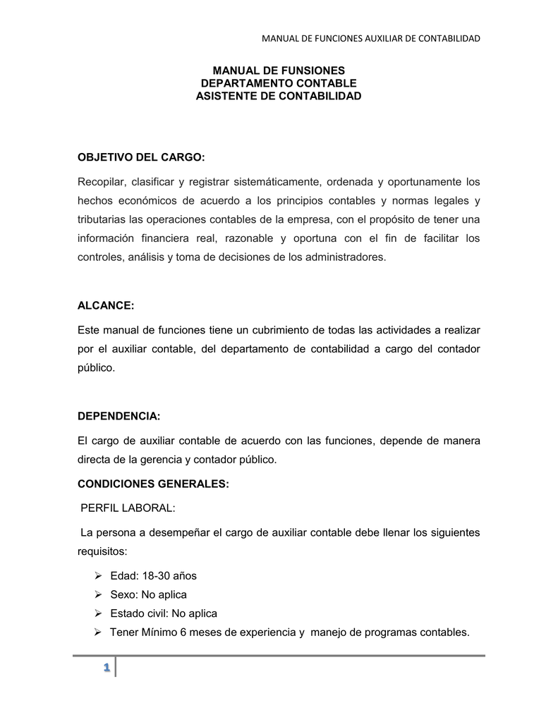MANUAL DE FUNSIONES AUXILIAR CONTABLE