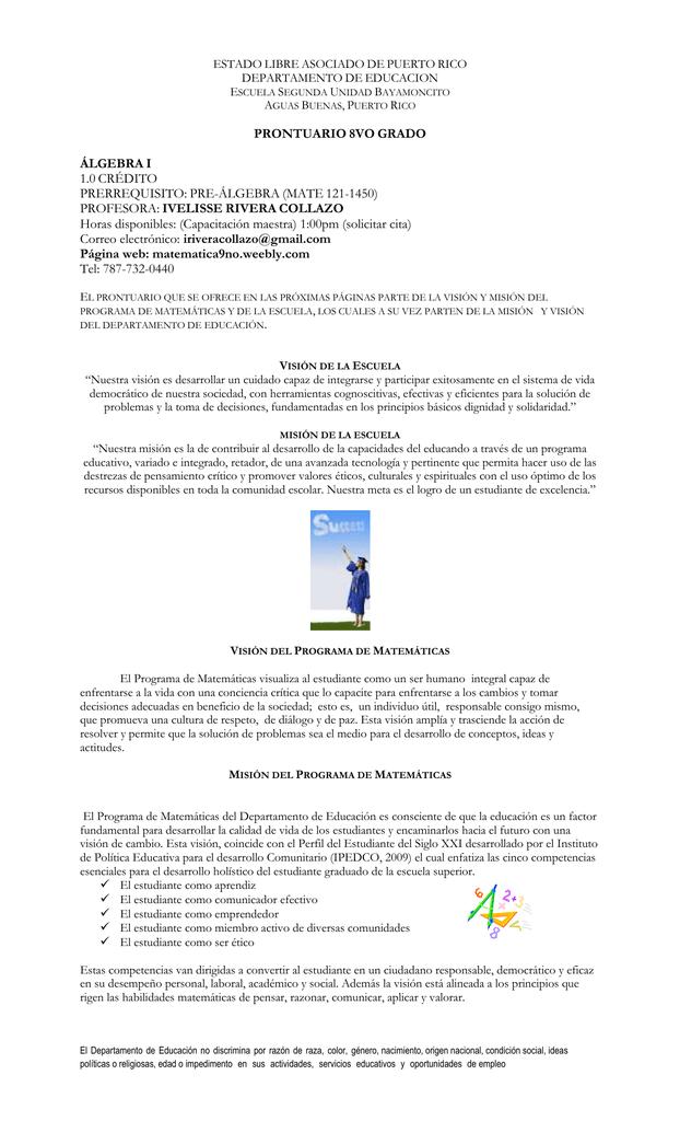 prontuario 8vo grado - Matemáticas Intermedias