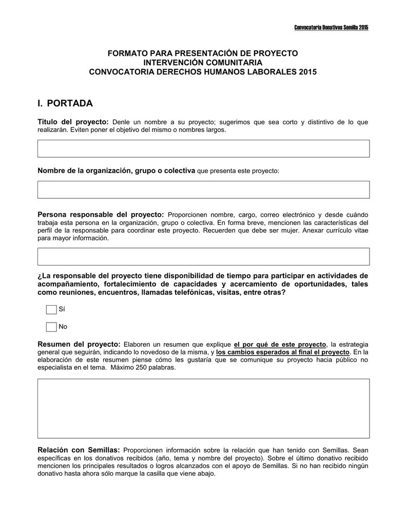 Formato para Presentación Propuesta para Intervención