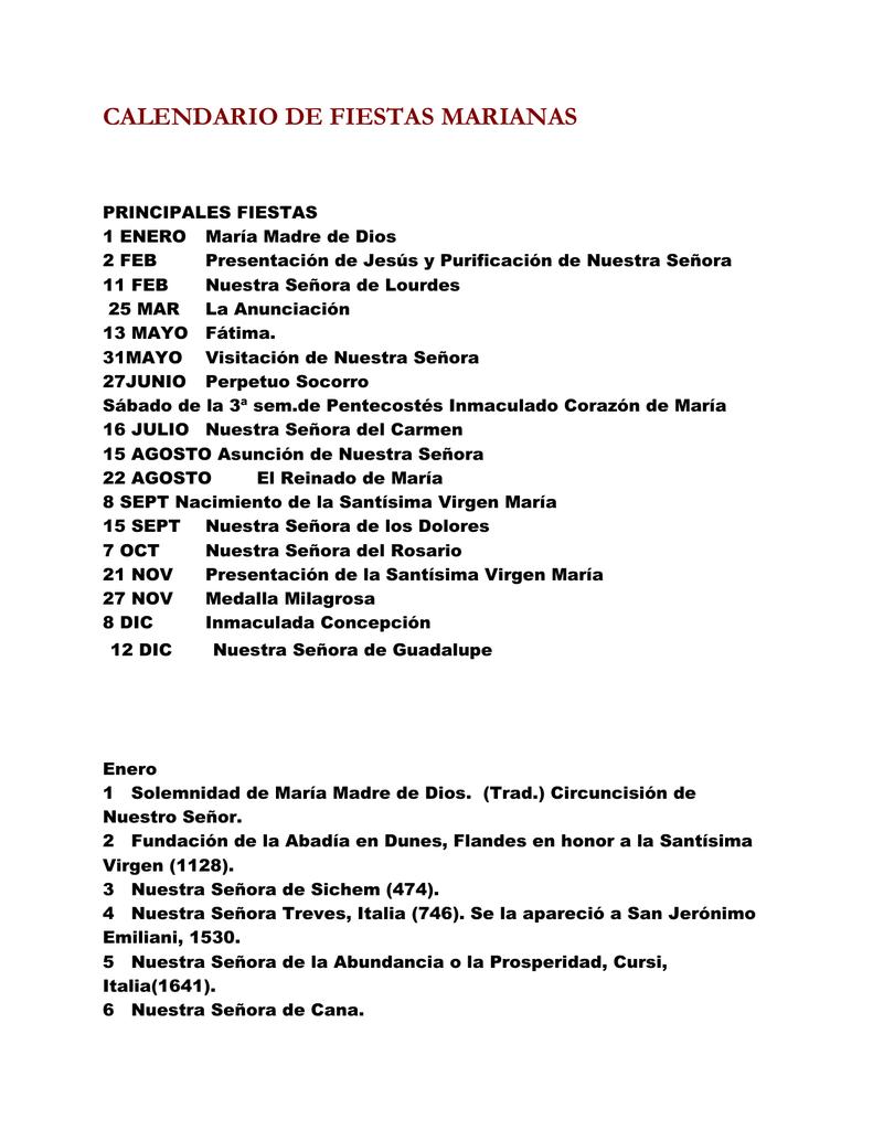 Calendario Mariano.Calendario De Fiestas Marianas