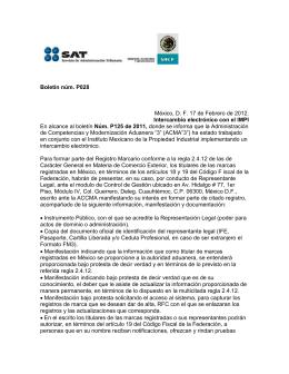Boletín núm. P028 México, D. F. 17 de Febrero de 2012. Intercambio