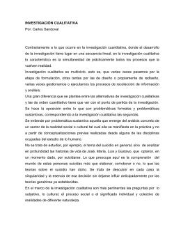 INVESTIGACIÓN CUALITATIVA Por: Carlos Sandoval