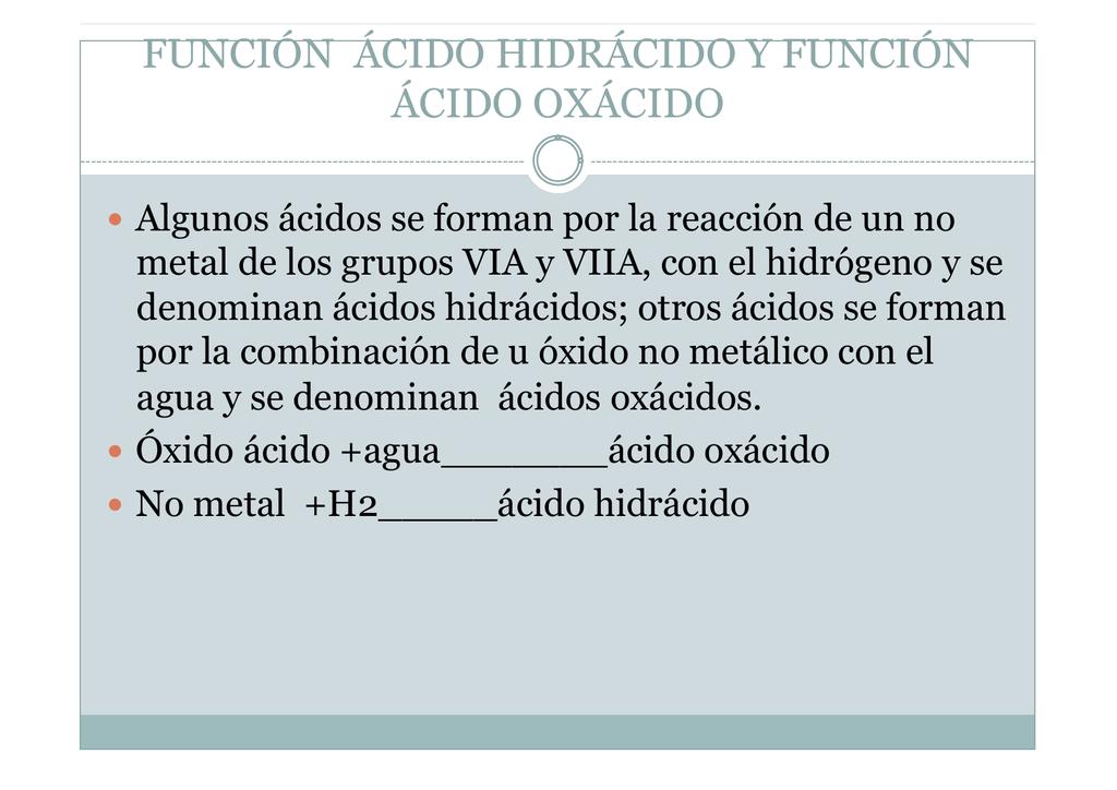 Funcion ácido 8
