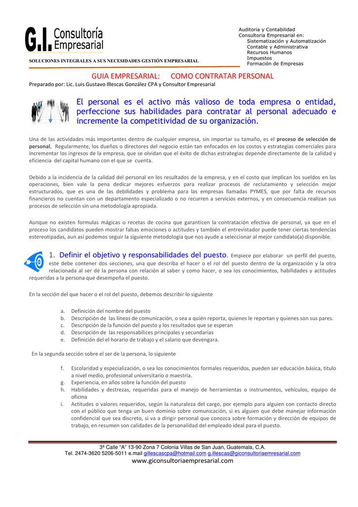 Guía para Selección y Contratación de Personal