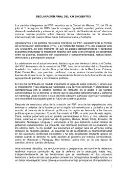 DECLARACIÓN FINAL DEL XXI ENCUENTRO
