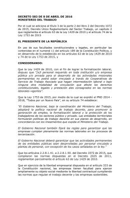 DECRETO 583 DE 8 DE ABRIL DE 2016 MINISTERIO DEL TRABAJO