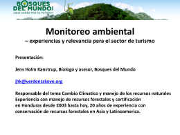 Monitoreo ambiental – experiencias y relevancia para el sector de turismo