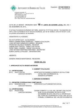 Acta de la Junta de Govern Local núm. 18 de 1 de desembre de 2015