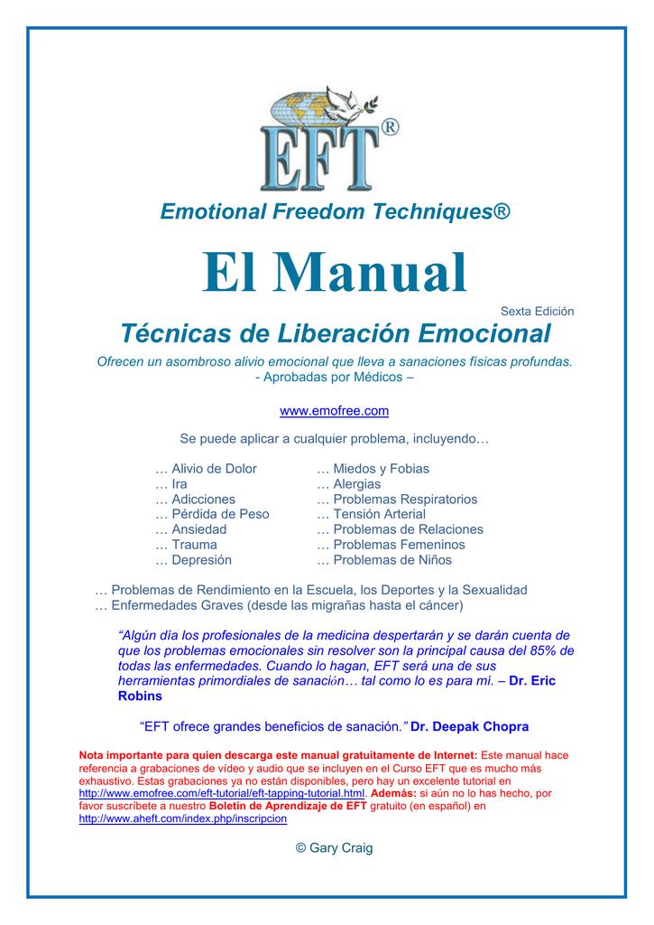 Manual De Eft Técnicas De Liberación Emocional