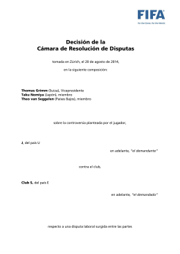 Decision of the Dispute Resolution Chamber, Player J, from country U v. Club S, from country E and Club Y (20 August 2014)