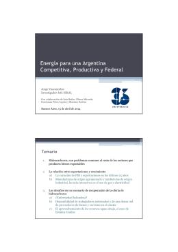 Energía para una Argentina Competitiva, Productiva y Federal Temario